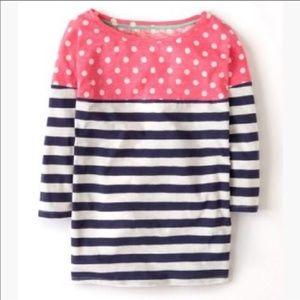 Boden Breton Pink Polka Dot Blue Striped Shirt 6
